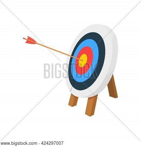 Archery Target Ring With Arrow Hitting Bullseye. Dartboard On Tripod. Goal Achieving Idea. Business