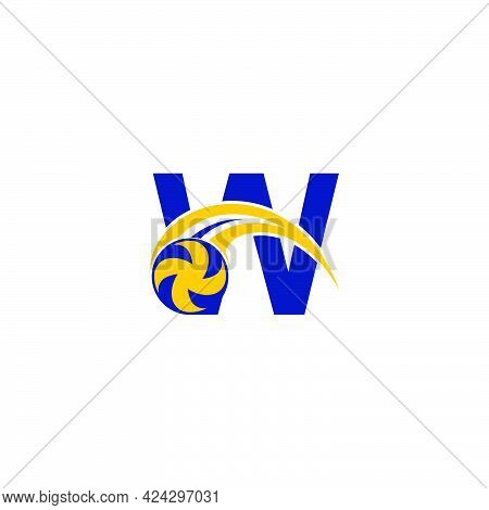 Letter W With Smashing Volley Ball Icon Logo Design Template Illustration