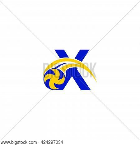 Letter X With Smashing Volley Ball Icon Logo Design Template Illustration