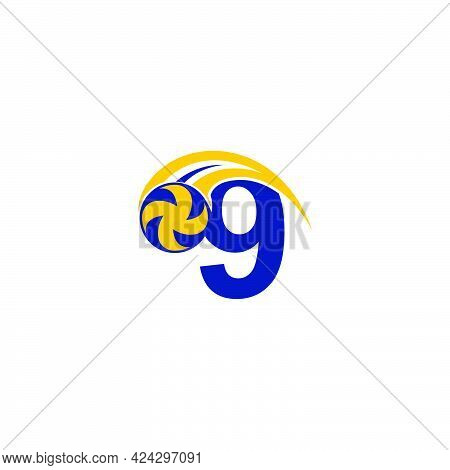 Number 9 With Smashing Volley Ball Icon Logo Design Template Illustration