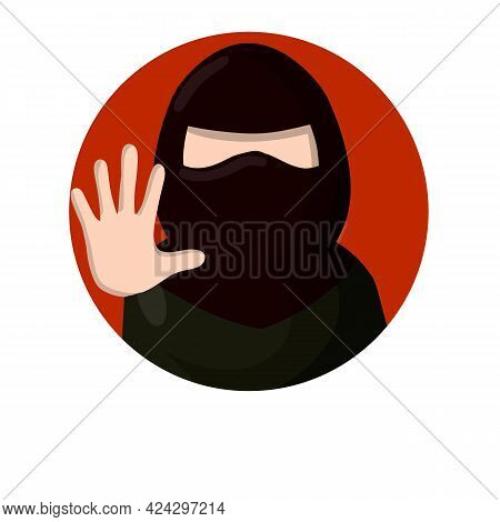 Arab Woman And Forbidding Palm Gesture. Sign To Stop. Social Flat Sign Icon For App. Womens Right. I