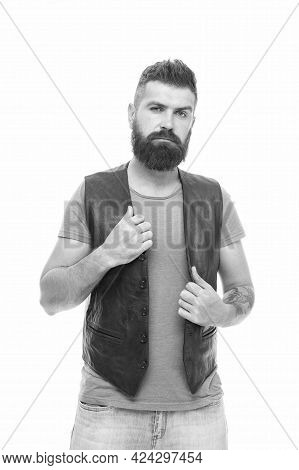 Feeling Weird. Hipster Mature Guy With Beard Brutal Guy. Emotional Face Expression. Masculinity Conc