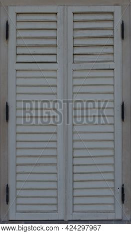 Large Closed Wooden Shutters, White And Beautiful