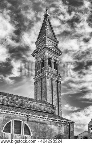 The Leaning Belltower Of St Martin Church, Iconic Landmark On The Island Of Burano, Venice, Italy