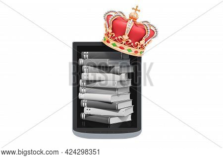E-book Reader With Golden Crown, 3d Rendering Isolated On White Background