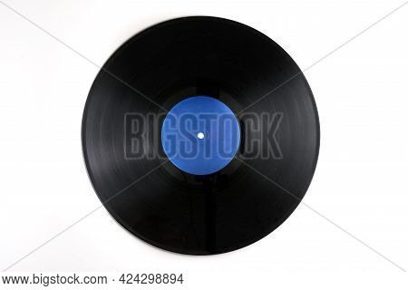 Old Black Vinyl Records Isolated On White Background. With Clipping Path. Black Vinyl Record - Vinta