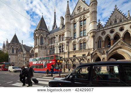 Royal Courts Of Justice. Strand, London, Uk