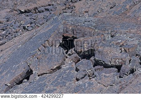 Cracked And Broken Lava Blocks On The Lava Falls Trail In El Malpais National Monument In New Mexico