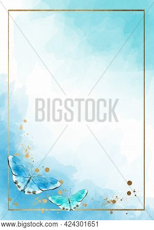 Abstract Baby Blue Watercolor Background With Butterflies For Invitations, Cards, Posters. Texture,
