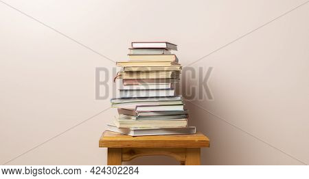 A Stack Of Books Isolated With Copy Space Design, Knowledge Wisdom Learning At School