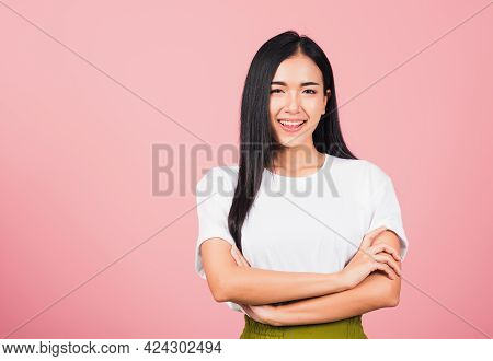 Asian Happy Portrait Beautiful Cute Young Woman Standing Her Smile Confidence With Crossed Arms Isol
