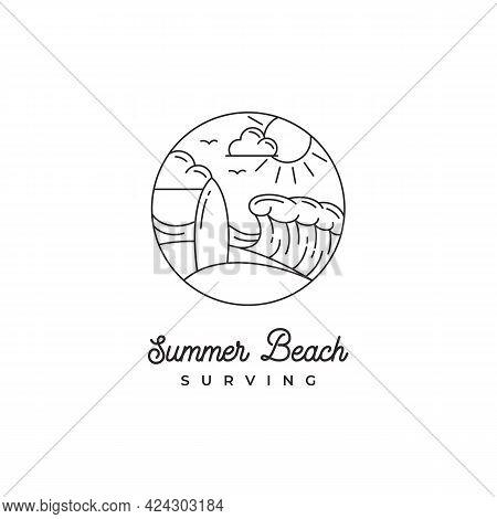 Line Art Surfing Logo Design . Surfer Logo Template. Surf Badge. Summer Fun. Surfboard Elements. Out