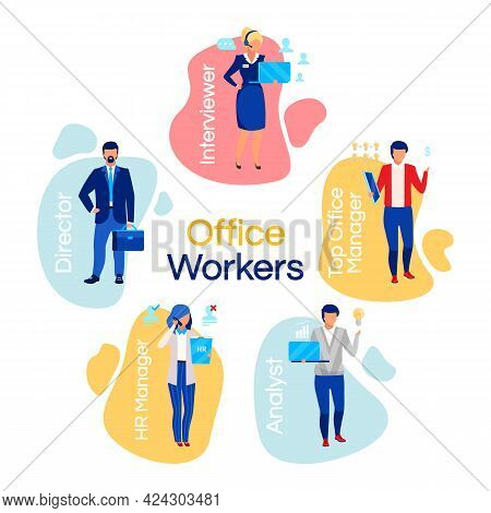 Office Workers Flat Concept Icons Set. Company Employees Stickers, Cliparts Pack. Businessmen And Bu