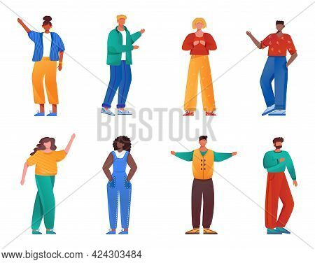Multicultural People Flat Vector Illustrations Set. Girls And Guys Of Different Nationalities. Socia