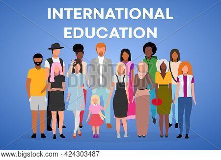 International Education Poster Vector Template. Multinational Students Exchange Program. Brochure, C