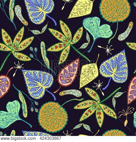 Autumn Seamless Pattern With Ornamental Leafs And Seed. Hand Drawn Vector Illustration.