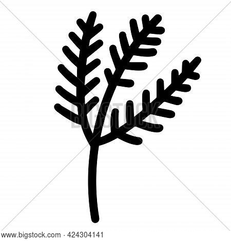 Vector Icons Twig With Leaves. Botanical Element Isolated On White. Black Outline Of Spruce, Pine, L
