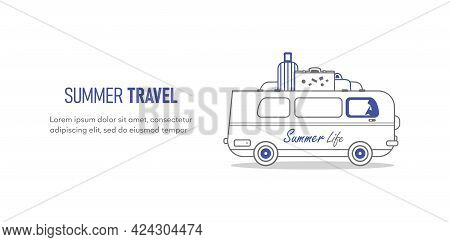 Van Vector Outline Illustration Isolated On White Background - Mini Car, Travel, Trip, Template Trav