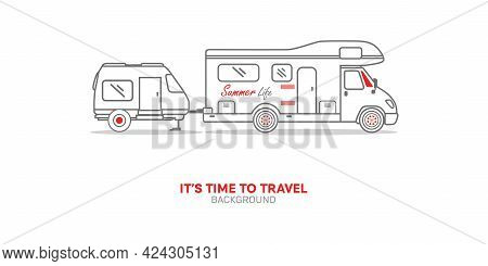 Van Truck Vector Outline Illustration Isolated On White Background - Mini Car, Travel, Trip, Templat