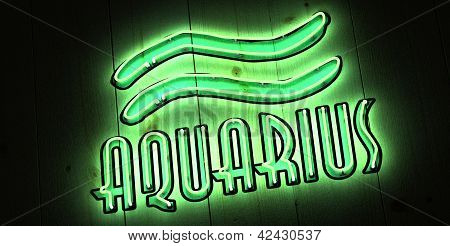 Aquarius Zodiac Sign in Neon Light