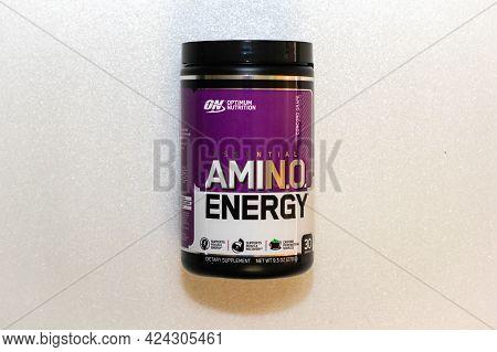Labuan,malaysia-jun 15,2021:close Up The Optimum Nutrition Essential Amino Energy Bottle Isolated On