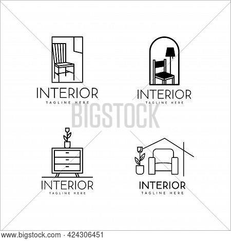 Furniture Logo. Home Interior Logo Design And Monoline Style Furniture On Set