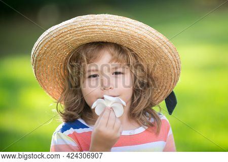 Portrait Of A Cute Child Boy In Straw Hat Smelling Plumeria Flower. Close Up Caucasian Kids Face. Cl
