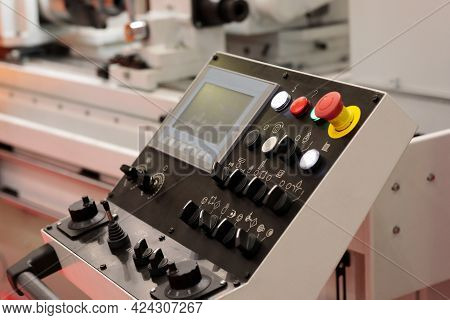 Control Panel Of Industrial Metalworking Machine. Selective Focus.