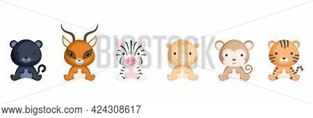 Cute Sitting Baby Animals In Cartoon Style. Collection African Animals Characters For Kids Cards, Ba