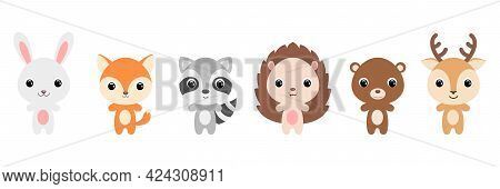Cute Woodland Baby Animals In Cartoon Style. Collection Animals Characters For Kids Cards, Baby Show
