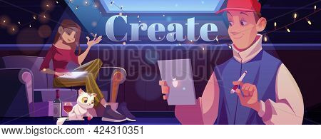 Create Cartoon Motivational Banner. Young Man And Woman At Home Art Place On Attic Writing Or Painti