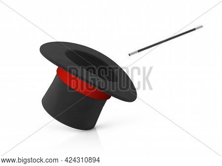 Magician Hat. Black Cylinder Hat With A Red Ribbon And A Magic Wand. Isolated On White Background. 3