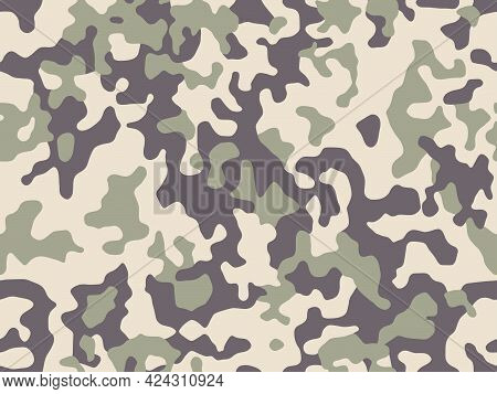 Military Background Of Soldier Green And Light Brown Camouflaging Seamless Pattern. Modern Vector Ca