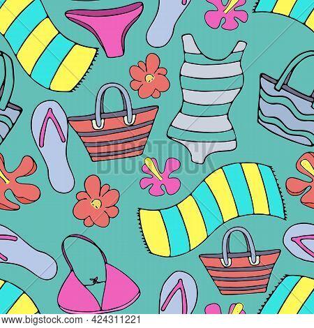 Swimwear, Bag, Towel, Flip Flops For Sunbathing On The Beach, Set Of Green Tropical Green Leaves, Ve