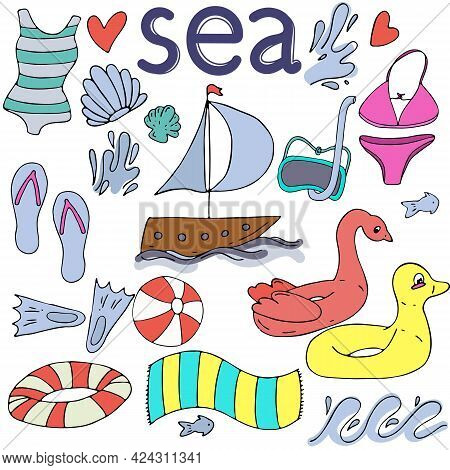Sea, Boat, Swimsuit, Life Buoy, Diving Mask, Fins, Set Of Vector Elements In Doodle Style With Black