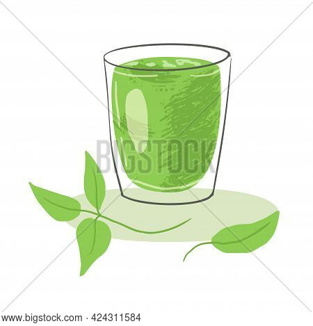 A Glass Of Refreshing Green Tea Matcha. Mixed Useful Smoothie. Traditional Japanese Drink.