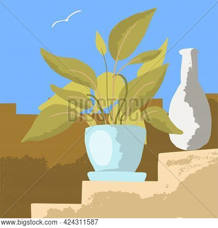 Potted Plant And White Vase On An Ancient Staircase. Vector Illustration In A Minimalist Style. Summ