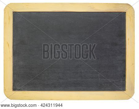 blank slate blackboard with wooden painted frame isolated on white