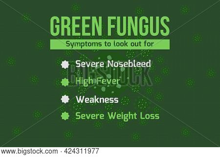 Green Fungus Mucormycosis Symptoms Infographic Typography - Vector Background. Medical Awareness Typ