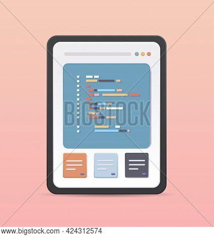 Web Development Programmer Engineering Coding Website On Tablet Pc Screen Programming Software Appli