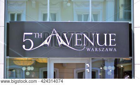 Warsaw, Poland. 19 June 2021. Sign 5 Th Avenue. Company Signboard 5 Th Avenue