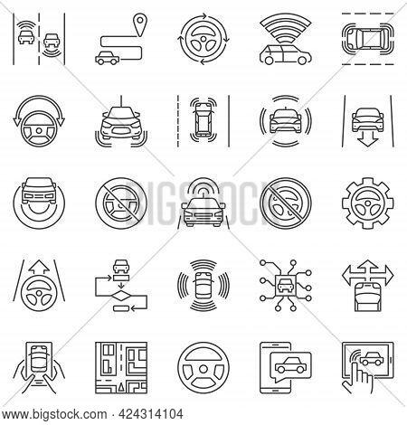 Self-driving Car Outline Icons Set. Vector Driverless Car Symbols
