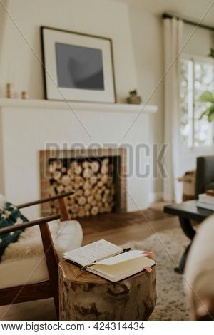 Simple living room interior view