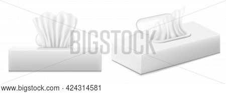 Napkin Boxes. Set Of White Tissue Napkin Box Blank Label And No Text For Mock Up Packaging Isolated