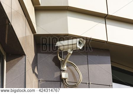Security Camera On Dark Modern Building, Security Technology, Building Security, Surveillance And Se