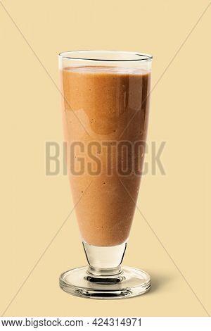 Chocolate milkshake studio shot on background mockup