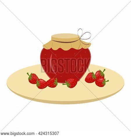 Strawberries And A Jar Of Strawberry Jam. Summer Conservation. Vector Illustration For Design