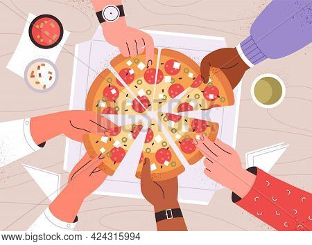 Diverse Male And Female Hands Taking Triangle Pizza Slices From Box On Table. Top View Of Italian Fa