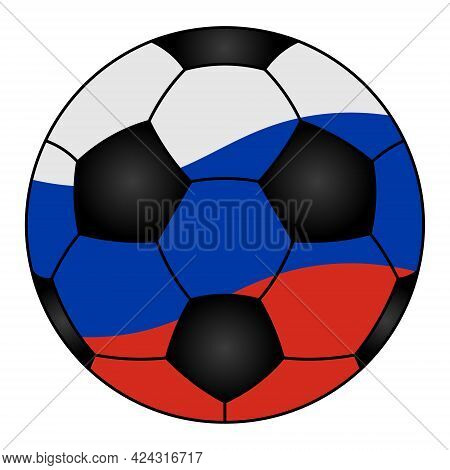 Soccer Ball. Sports Equipment Is Painted In The Colors Of The Flag Of The Russian Federation. Colore