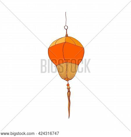Traditional Chinese Paper Lantern With Fringe And Loop For Hanging. China Street Lamp. Asian Ceremon